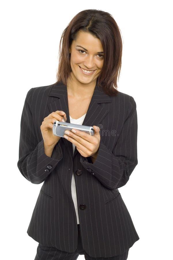 Frau mit Tasche PC stockfotos