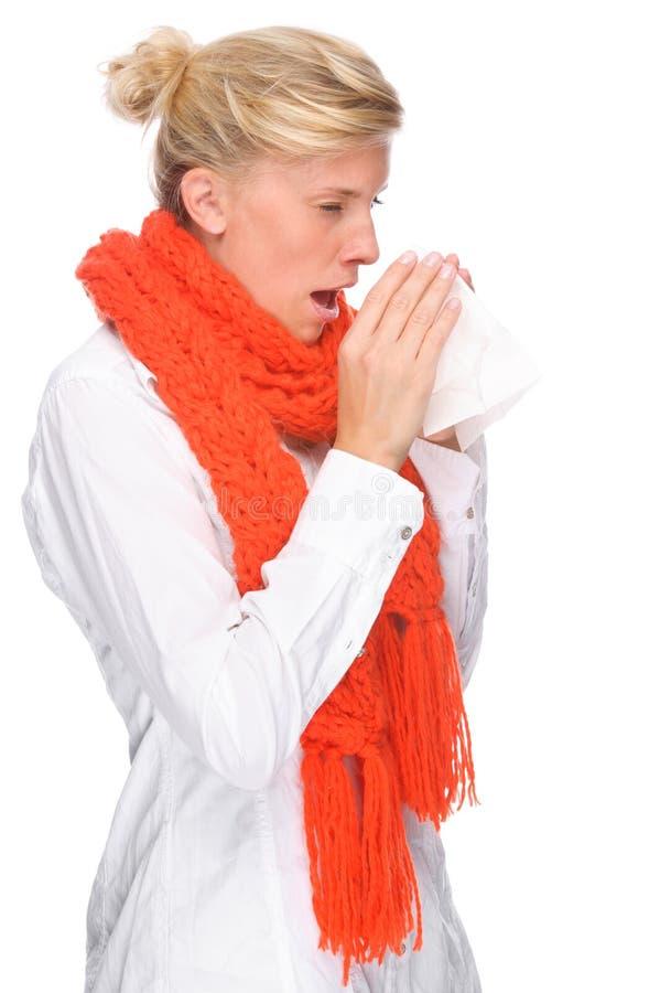 Frau mit Taschentuch lizenzfreie stockbilder