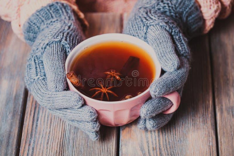 Frau mit Tasse Tee lizenzfreie stockbilder