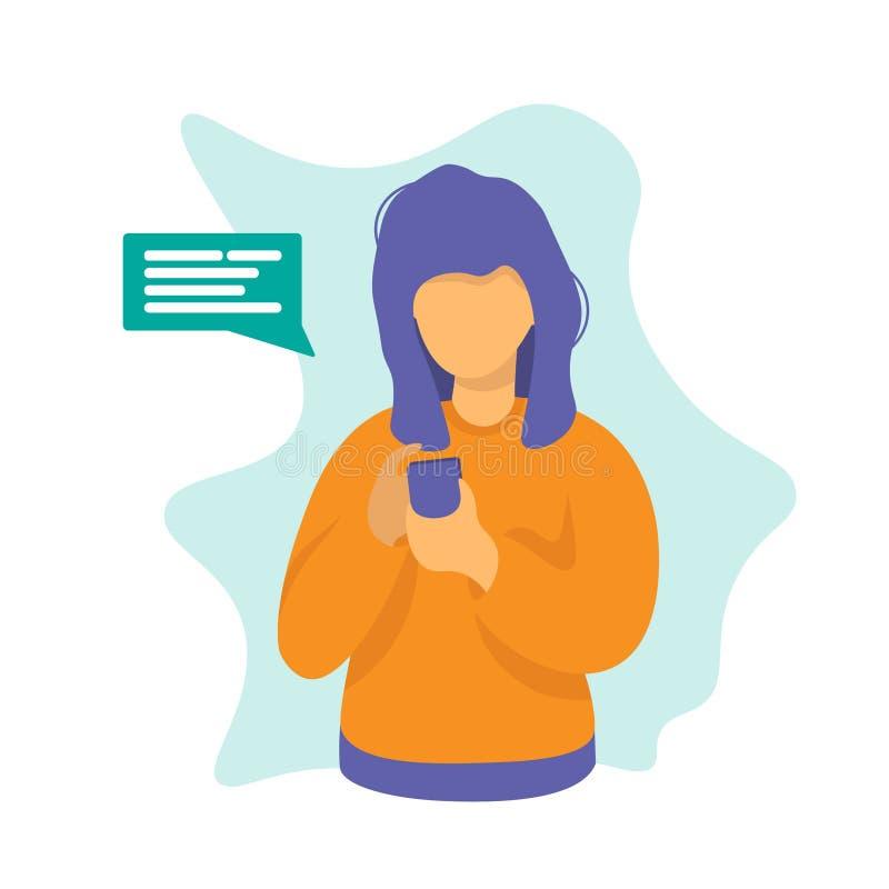 Frau mit Telefonschwätzchen-Konzeptentwurf stock abbildung