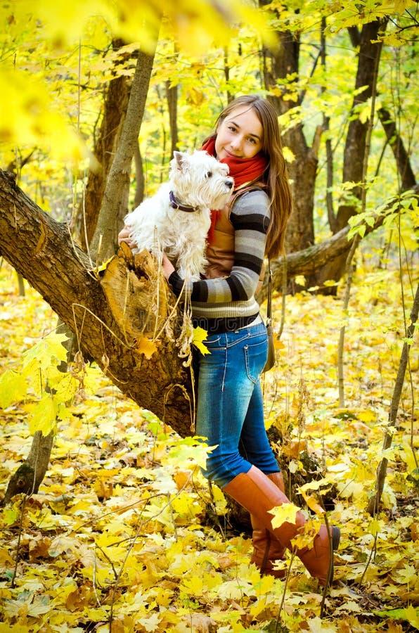 Frau mit Terrier stockfotografie