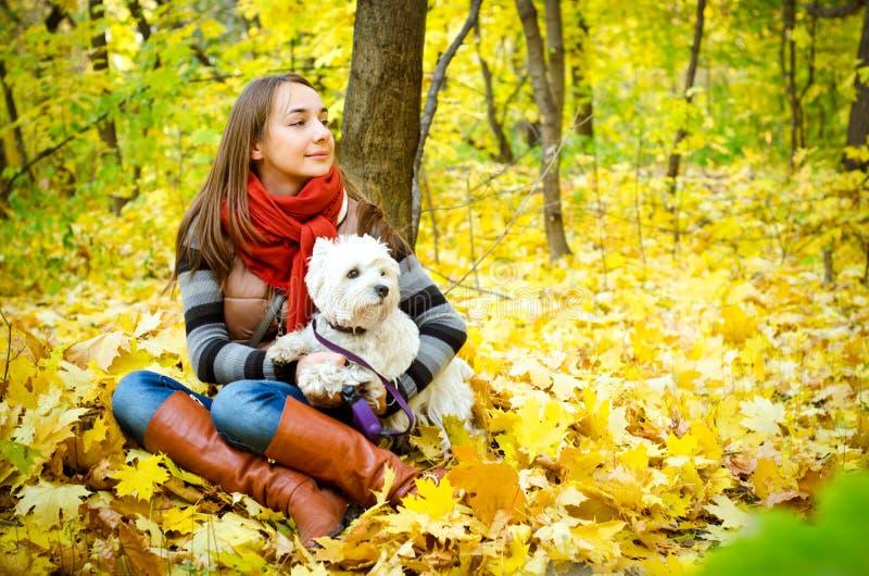 Frau mit Terrier lizenzfreie stockfotos
