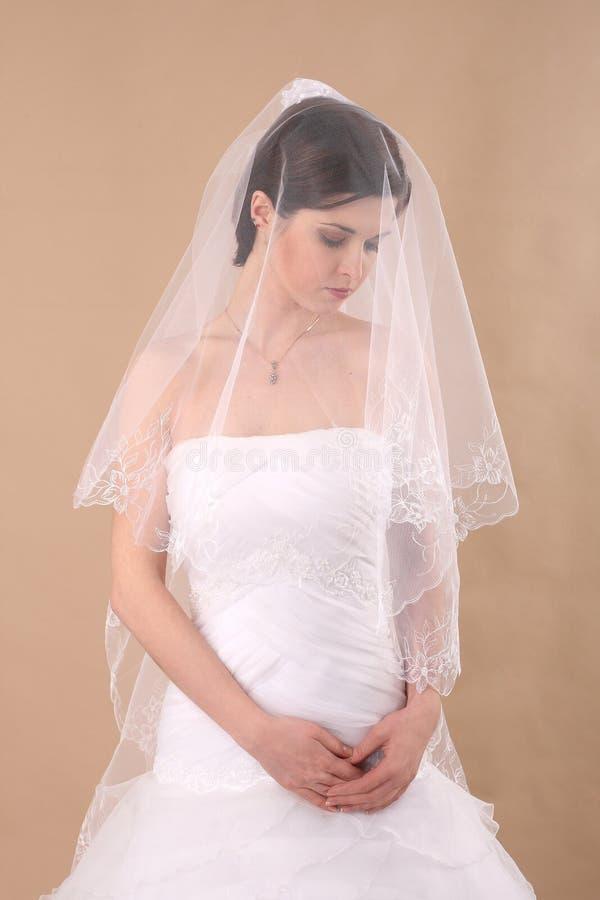 Frau mit transparentem Hochzeits-Schleier stockbilder