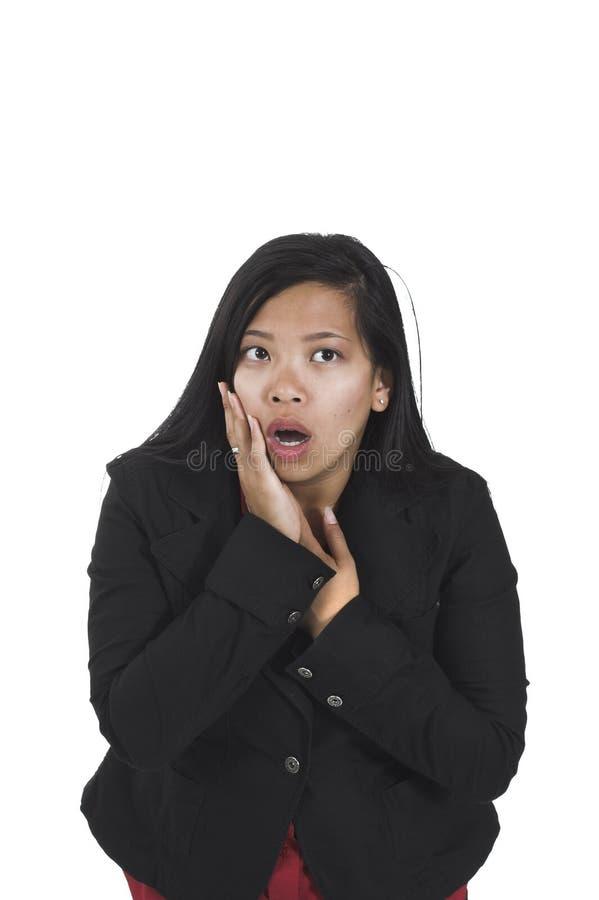 Frau mit traurigem Ausdruck lizenzfreies stockbild