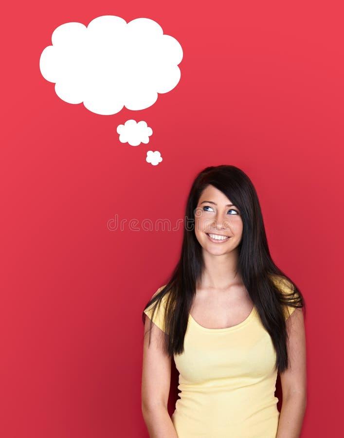 Frau mit unbelegter Gedankenwolke lizenzfreies stockbild