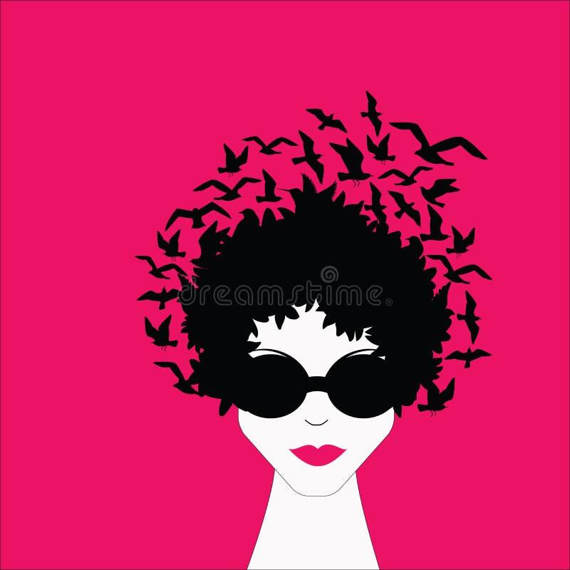 Frau mit Vögeln im Haar lizenzfreie abbildung