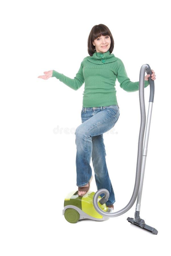 Frau mit Vakuum stockbild
