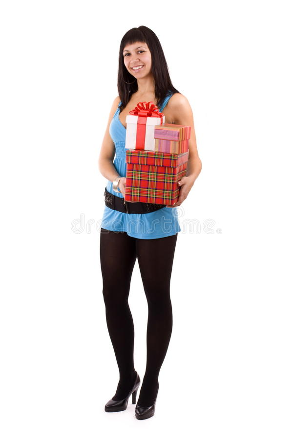Frau mit vielen Geschenkkästen lizenzfreies stockfoto