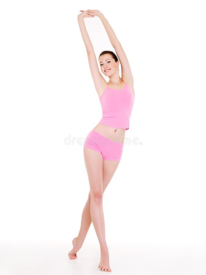 Frau mit vollkommener dünner schöner Karosserie lizenzfreie stockbilder