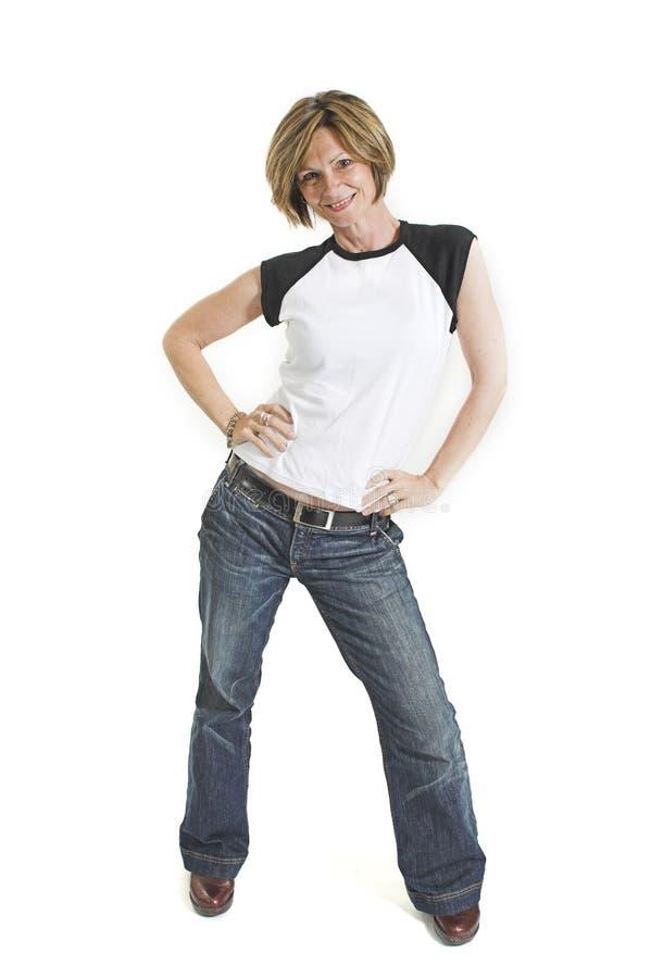 Frau mit weißem T-Shirt stockbilder