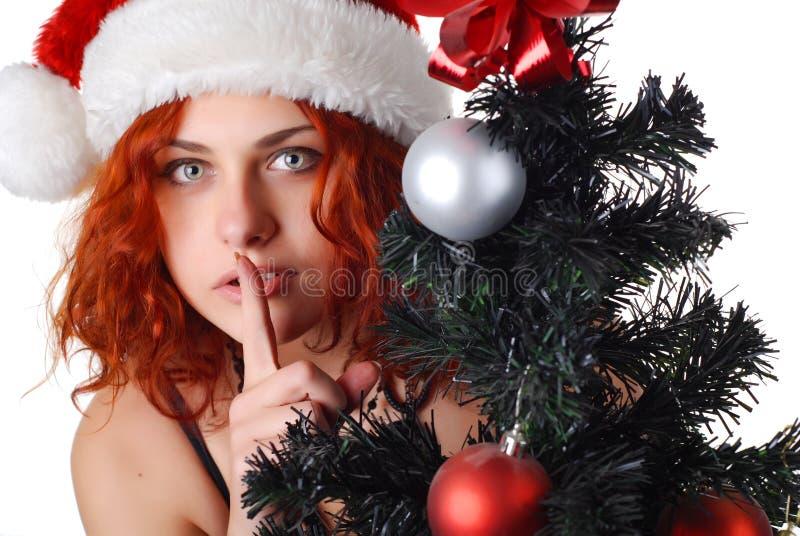Frau mit Weihnachtsbaum stockfotos