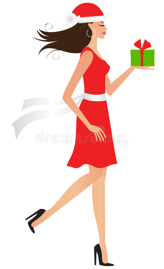 Frau mit Weihnachtsgeschenk stock abbildung