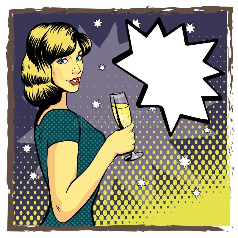 Frau mit Weinglas im Pop-Arten-Retrostil Komische vektorabbildung Trinkender Champagner des schönen Mädchens lizenzfreie abbildung