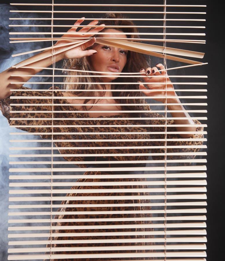 Frau mit Wind im Haar lizenzfreies stockbild