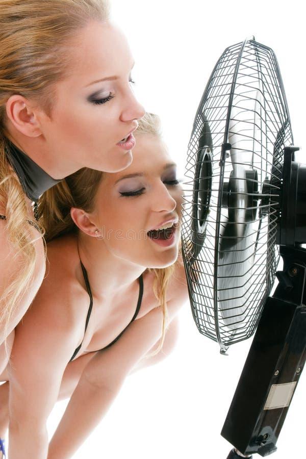 Frau mit zwei Blondinen unter Gebläsebrise lizenzfreie stockfotografie