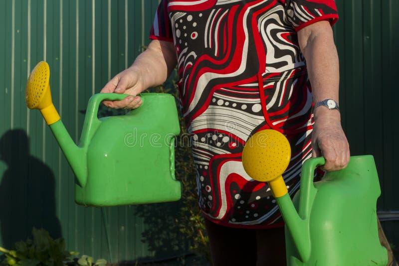 Frau mit zwei Gießkannen, die fertig werden, den Garten zu wässern lizenzfreie stockbilder