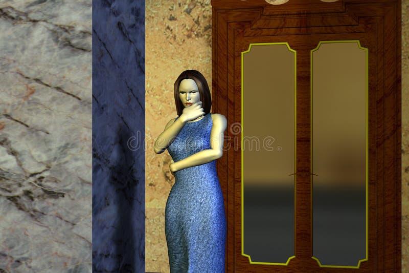 Frau nahe der Tür stockfoto