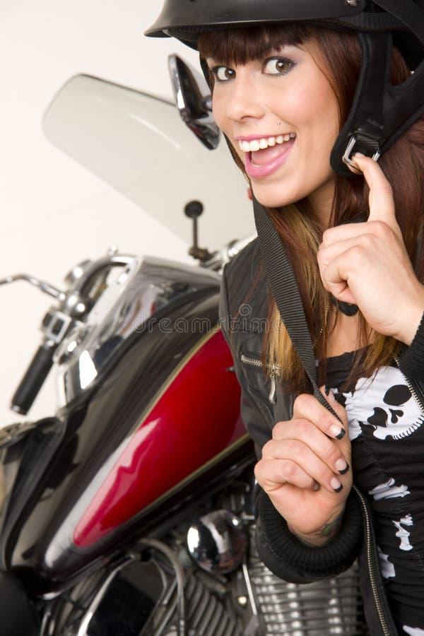 Frau neben Motocycle stockbilder
