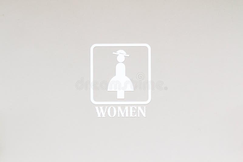 Frau-oder Frauen-Toiletten-Zeichen stockfotos