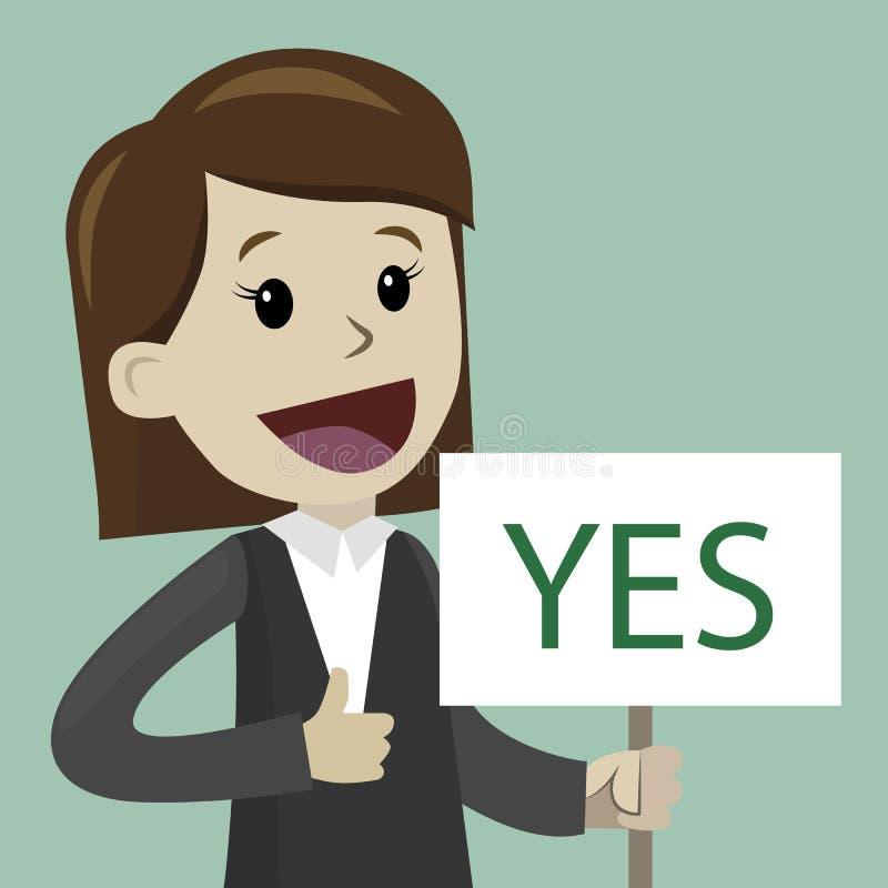 Frau oder Geschäftsfrau hält ein Zeichen mit Text JA stockbild