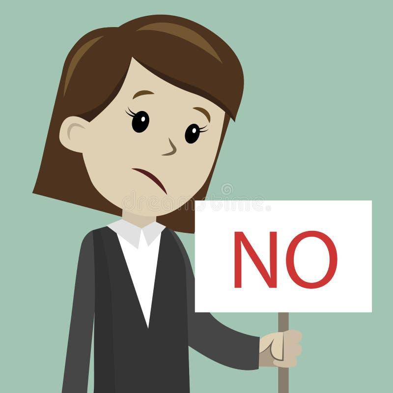 Frau oder Geschäftsfrau hält ein Zeichen mit Text NEIN stockfotos