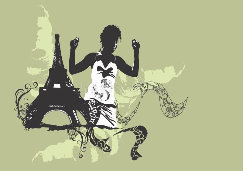 Frau in Paris lizenzfreie abbildung