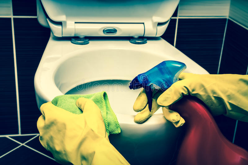 Frau säubert Toilettenschüssel mit einem Lappen und einem Desinfektionsmittel stockfoto