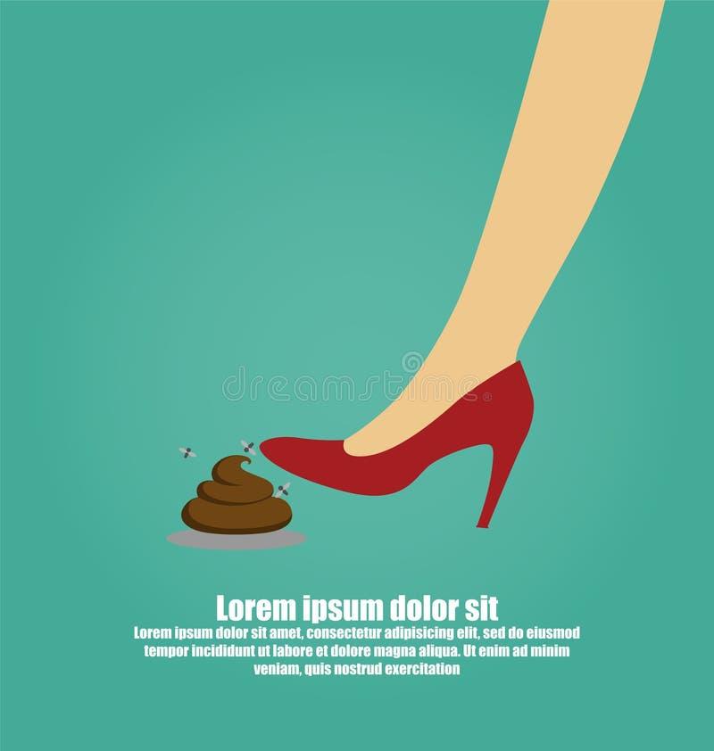 Frau ` s Fuß, der in einen Stapel des Hundehecks tritt stock abbildung