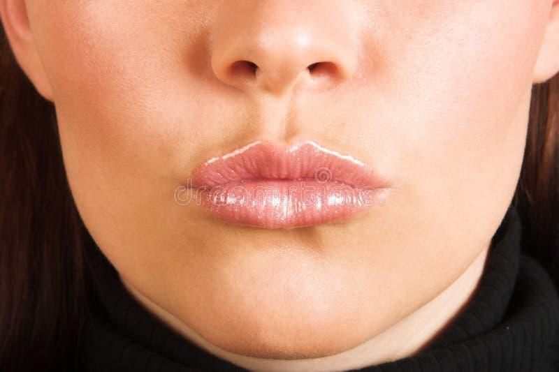 Frau? s-Gesicht mit den flirty Lippen lizenzfreies stockbild