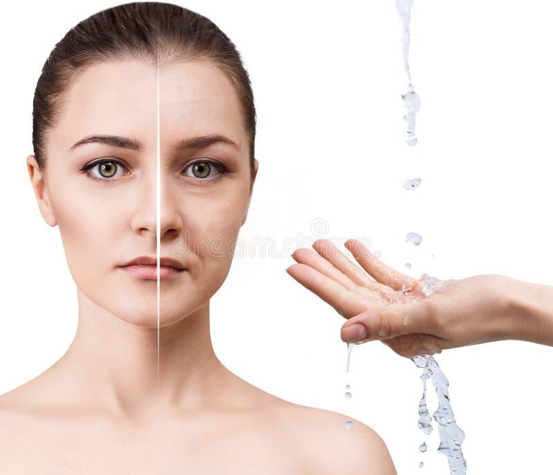 Frau ` s Gesicht vor und nach Verjüngung lizenzfreie stockfotografie