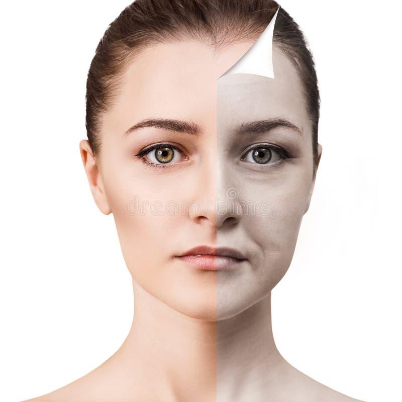 Frau ` s Gesicht vor und nach Verjüngung stockfotos