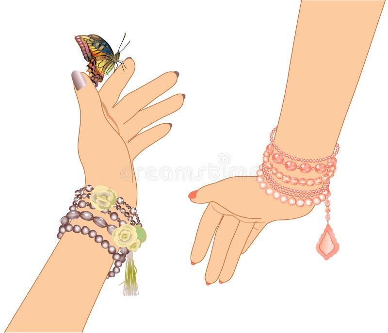 Frau ` s Hände mit Armbändern von Perlen und von Schmetterling vektor abbildung