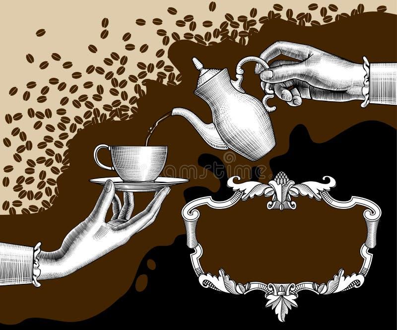 Frau ` s Hände mit einem Kaffeetopf und eine Schale und ein Retro- Rahmen vektor abbildung