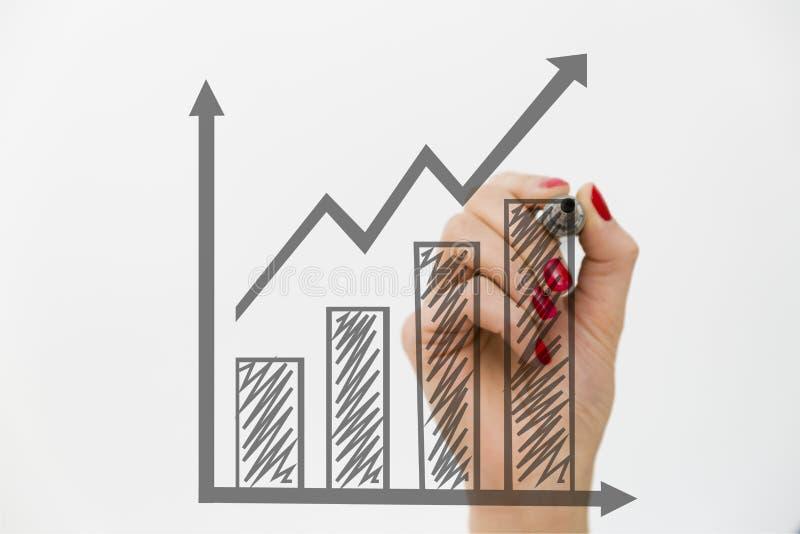 Frau ` s Hand, die ein Diagramm zeichnet Wachstums- und Geschäftskonzept lizenzfreies stockfoto