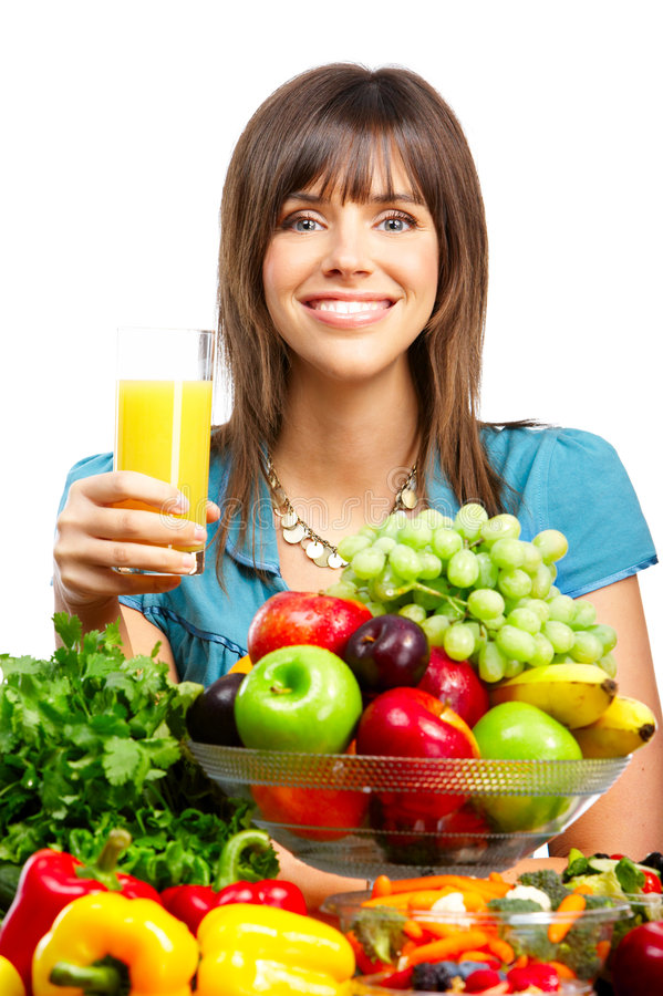 Frau, Saft, Gemüse und Früchte stockbild