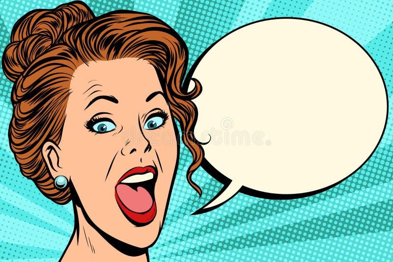 Frau sagt komische Blase lizenzfreie abbildung