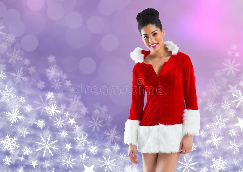 Frau Sankt und Schneeflocken-Weihnachtsmuster lizenzfreies stockbild