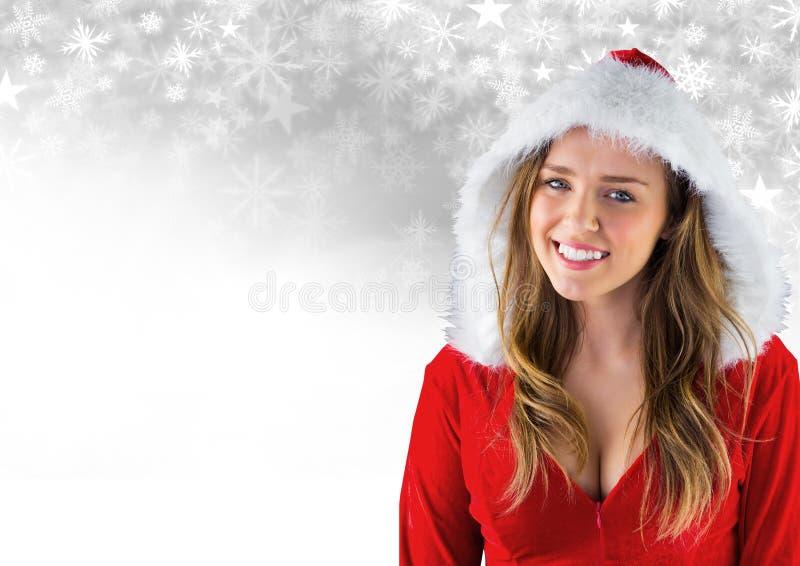 Frau Sankt und Schneeflocken-Weihnachtsmuster und Leerstelle stockbilder