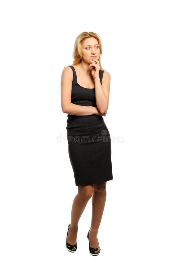 Frau schaut anerkennend lizenzfreie stockfotografie