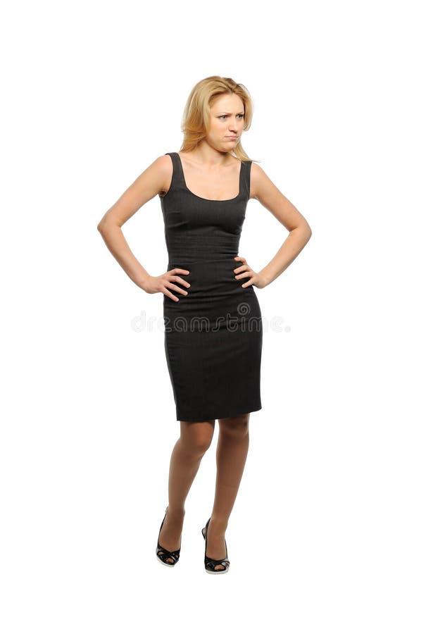 Frau schaut anerkennend lizenzfreie stockfotos