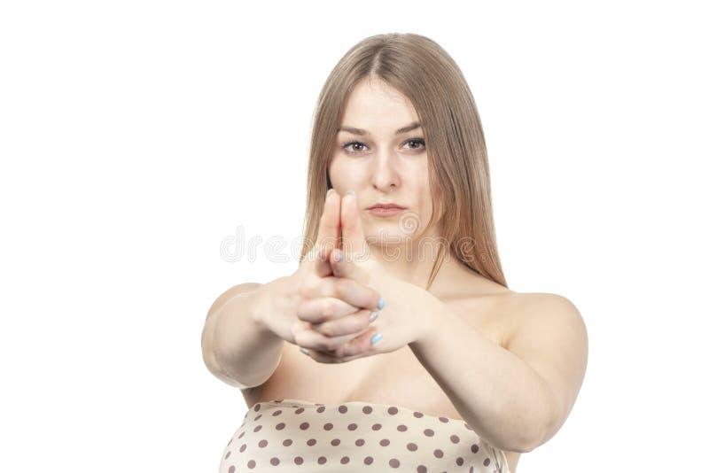 Frau schießt ihre Finger lizenzfreie stockfotos