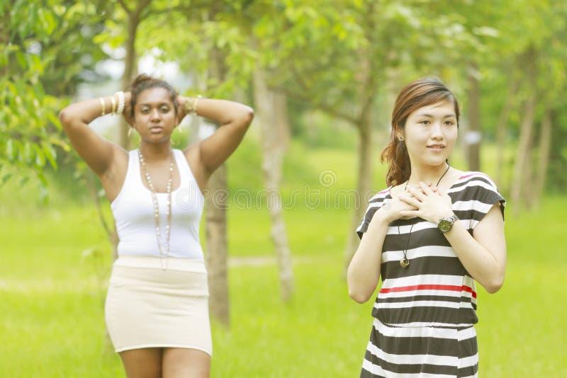 Frau, Schwarzes und Asiat mit zwei unterschiedliche Rennen. stockfotografie