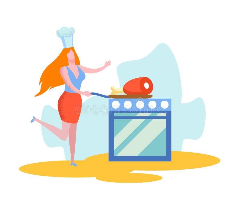 Frau setzte Pan mit sehr groß Stück Fleisch auf Ofen vektor abbildung