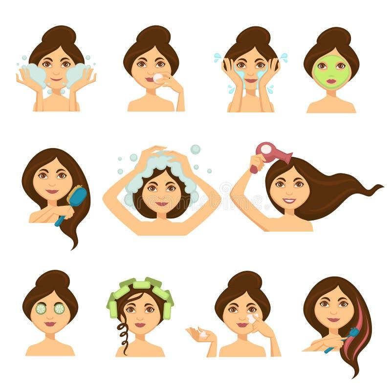 Frau skincare Verfahren und waschende Vektorfrau des Haares stellen Ikonen gegenüber vektor abbildung
