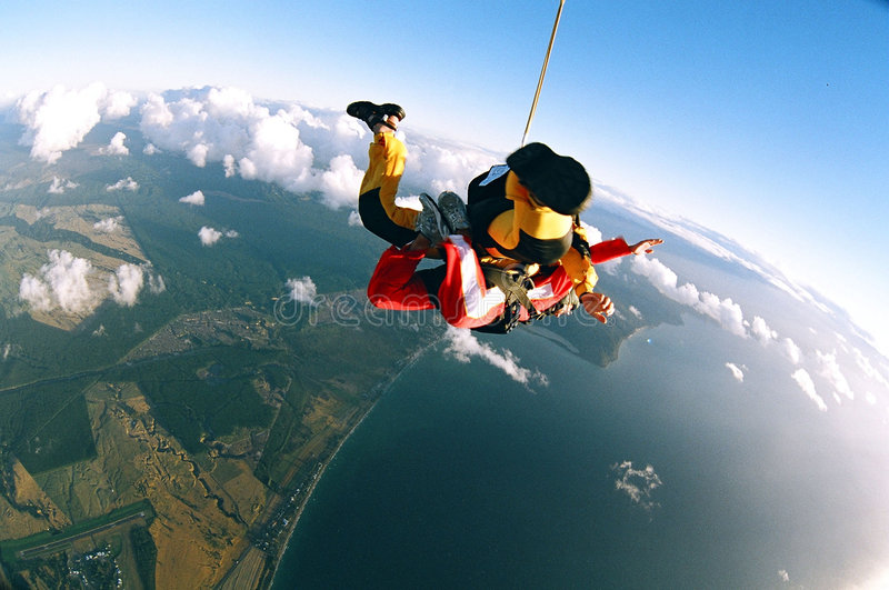Frau Skydiving stockfotografie