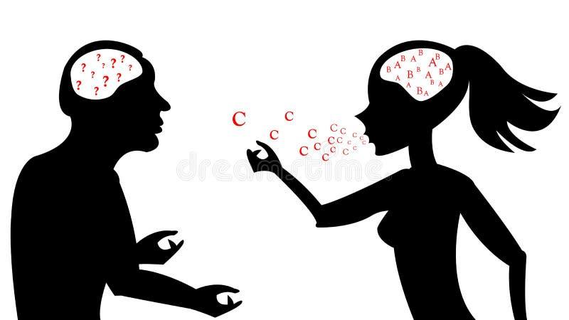 Frau sprechen mit Mann lizenzfreie abbildung