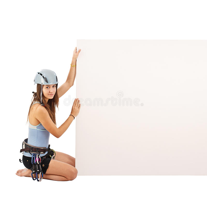Frau in steigender Ausrüstung stockbilder