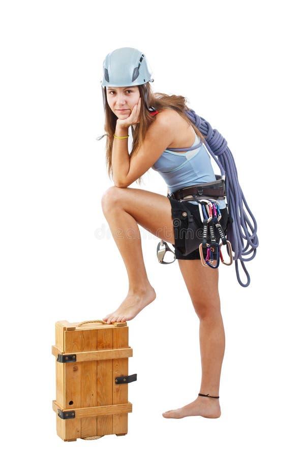 Frau in steigender Ausrüstung lizenzfreies stockfoto