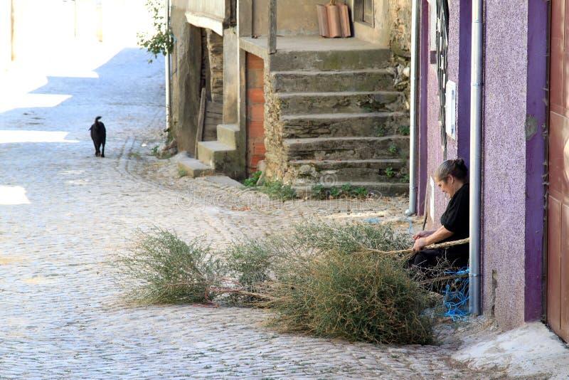 Frau stellt Besen, Portugal her stockfotos
