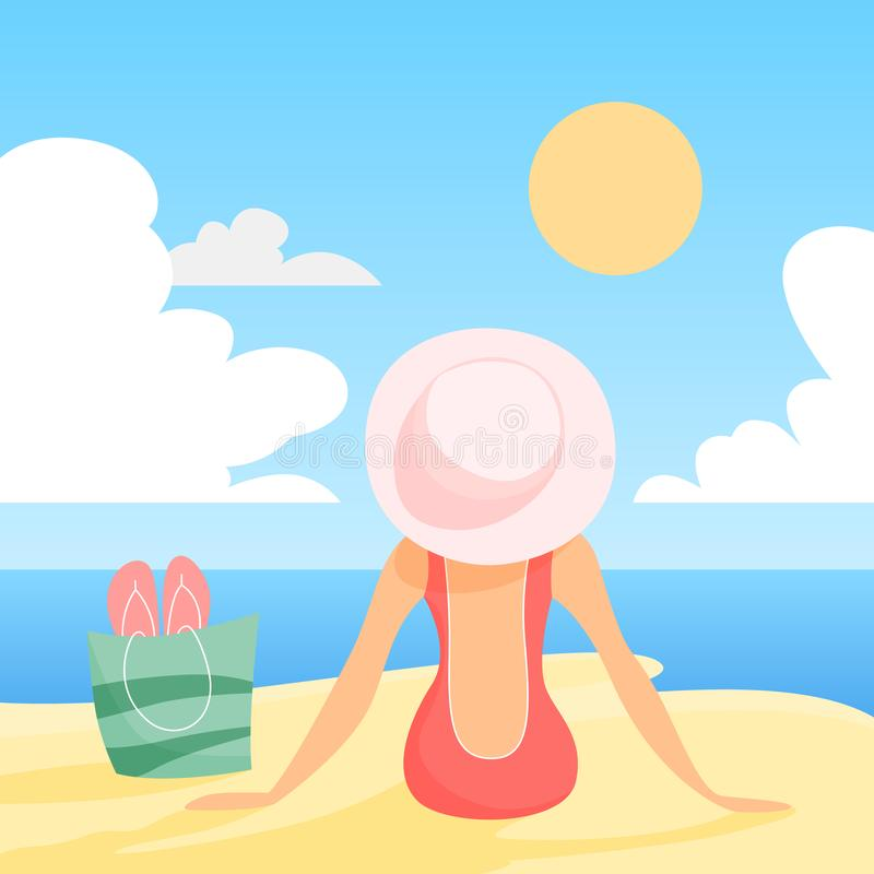 Frau in swimmng Anzug und Hut, die auf dem Sommerstrand sitzen lizenzfreie abbildung